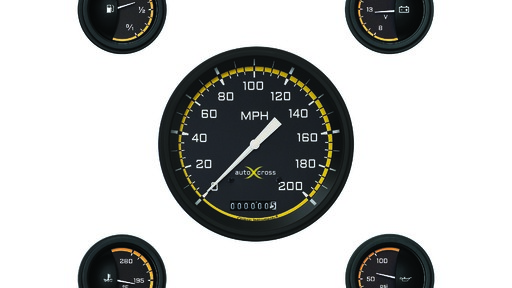 AutoCross Gul 4 5/8 Speedo, 2 1/8'' Fuel Oil Temp Volt