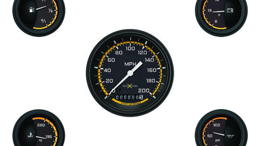 "AutoCross Gul 3 3/8"" Speedo, 2 1/8'' Fuel Oil Temp Volt"