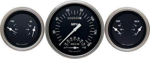"Hot Rod Series 4 5/8"" Speedtachular (Speedometer/ Tachometer Combination) & 2 Duals"